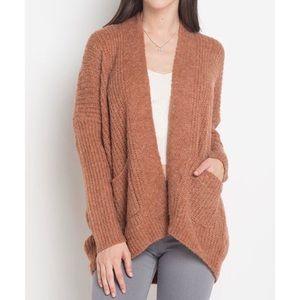 New pumpkin spice chunky open cardigan sweater